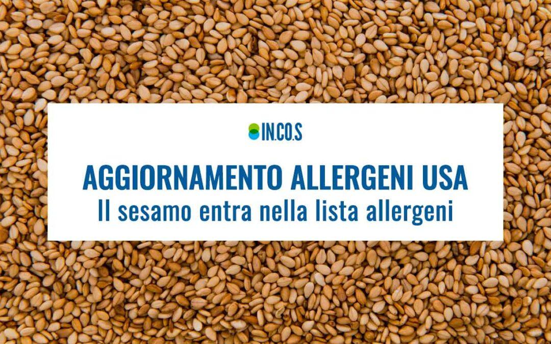 Sesamo nuovo allergene USA
